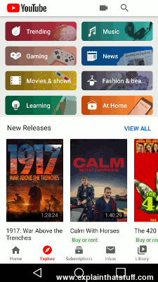 YouTube Android app screen shot