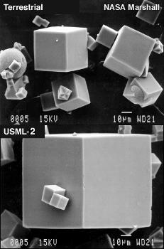 Zeolite crystals grown on Earth (top) and in space (bottom).