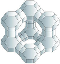 Crystalline structure of a zeolite catalyst.