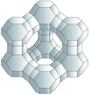 Artwork showing the structure of zeolite crystals