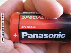 An ordinary zinc-carbon battery
