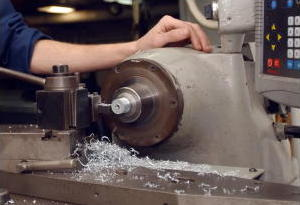 Zinc being worked on a lathe